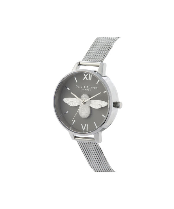 OLIVIA BURTON LONDON 3D Bee Demi Dial WatchOB16AM159 – Demi Dial in silver and Silver - Side view