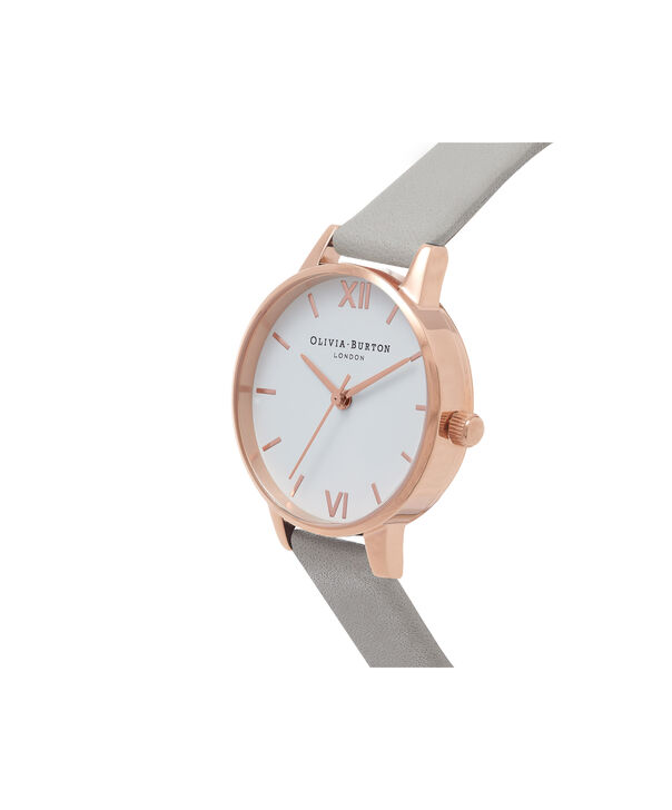 OLIVIA BURTON LONDON  White Dial Grey & Rose Gold Watch OB16MDW05 – Midi Dial Round in White and Grey - Side view