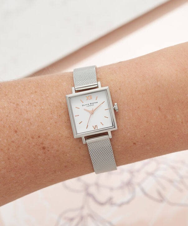 OLIVIA BURTON LONDON  Big Square Dial Silver Mesh Watch OB16SS12 – Big Dial Square in White and Silver - Other view