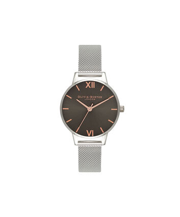 OLIVIA BURTON LONDON  Midi Grey Dial Dark Grey & Silver Mesh Watch OB16MD80 – Midi Dial Round in Grey and Silver - Front view