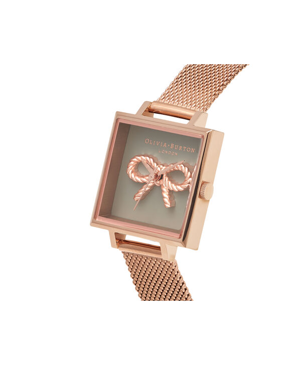 OLIVIA BURTON LONDON  Vintage Bow Grey & Rose Gold Mesh OB16VB10 – Midi Dial Round in Rose Gold - Side view