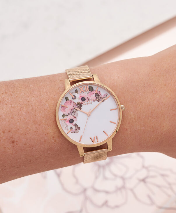 OLIVIA BURTON LONDON  Signature Floral Rose Gold Mesh Watch OB16WG18 – Big Dial in White and Rose Gold - Other view