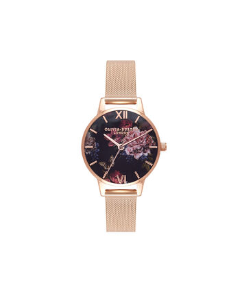 OLIVIA BURTON LONDON Dark BouquetOB16WG44 – Midi Dial Round in Rose Gold - Front view