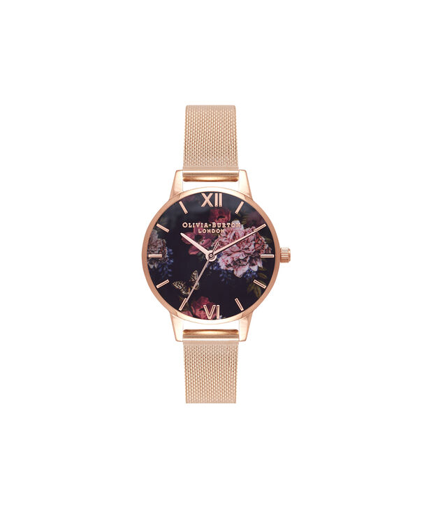 OLIVIA BURTON LONDON  Dark Bouquet Rose Gold Mesh Watch OB16WG44 – Midi Dial Round in Rose Gold - Front view