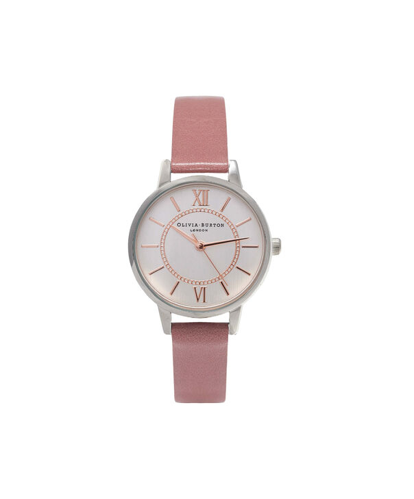 OLIVIA BURTON LONDON  Wonderland Rose, Silver & Rose Gold Watch OB15WD50 – Midi Dial Round in Silver and Rose - Front view