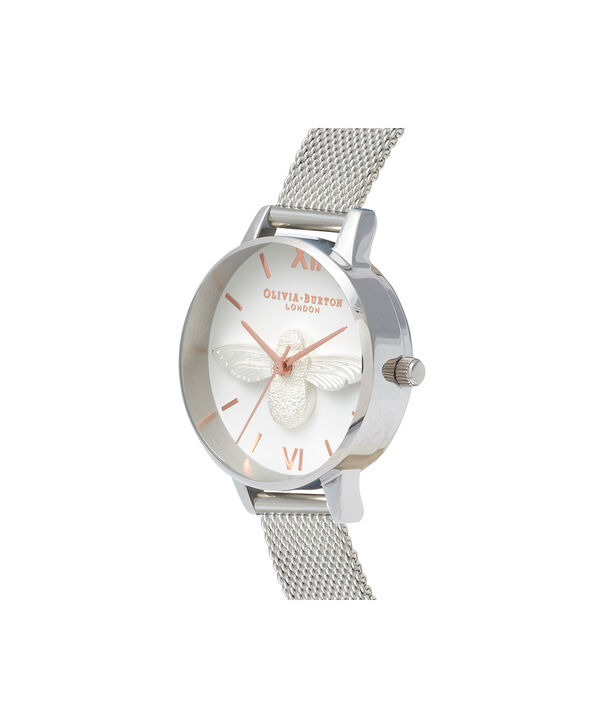 OLIVIA BURTON LONDON  3D Bee Rose Gold & Silver Mesh OB16AM146 – Midi Dial Round in Silver - Side view