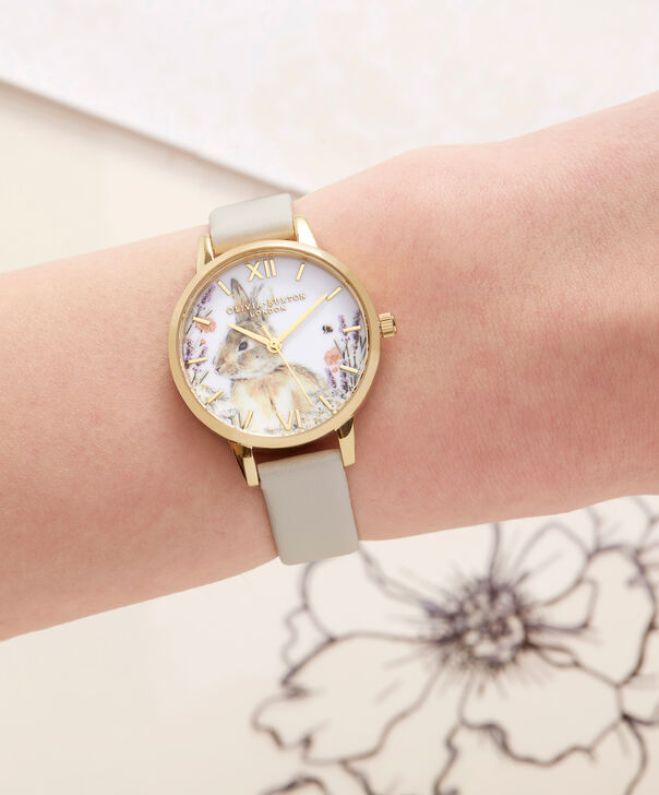 OLIVIA BURTON LONDON  Vegan Friendly Woodland Bunny Vegan Nude & Gold Watch OB16WL65 – Midi Dial Round in White and Nude - Other view
