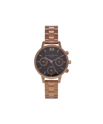 OLIVIA BURTON LONDON  Chrono Detail Rose Gold Watch OB15CGM60 – Midi Dial in Black and Rose Gold - Front view