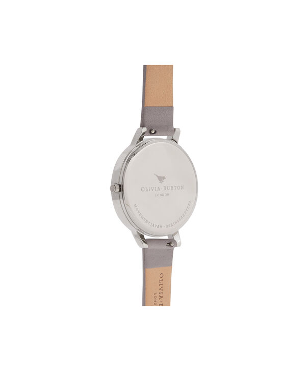 OLIVIA BURTON LONDON  Watercolour Florals Grey Lilac & Silver Watch OB16PP32 – Big Dial Round in Floral and Grey Lilac - Back view