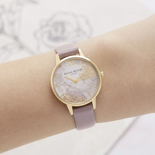 OLIVIA BURTON LONDON  Abstract Florals Vegan Rose Sand & Gold OB16VM31 – Midi Dial Round in Gold and Pink - Other view