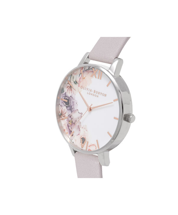 OLIVIA BURTON LONDON  Watercolour Florals Grey Lilac & Silver Watch OB16PP32 – Big Dial Round in Floral and Grey Lilac - Side view
