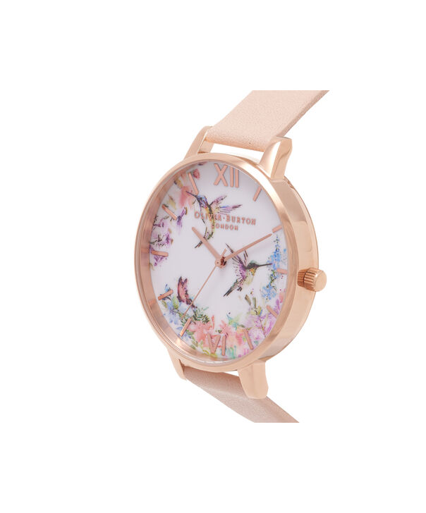 OLIVIA BURTON LONDON  Painterly Prints Hummingbird Nude Peach & Rose Gold Watch OB15PP12 – Big Dial Round in Floral and Peach - Side view