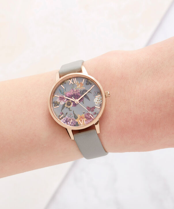 OLIVIA BURTON LONDON  Dark Bouquet Grey & Rose Gold Watch OB16EG80 – Midi Dial in Rose Gold and Grey - Other view