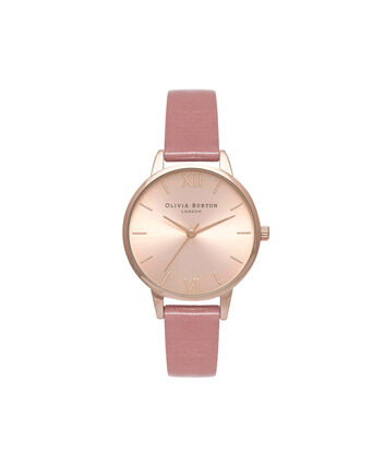OLIVIA BURTON LONDON Sunray DialOB15MD40 – Midi Dial Round in Rose Gold and Rose - Front view