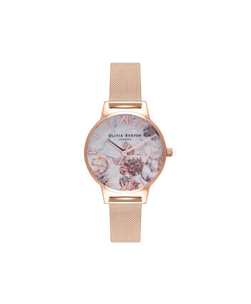 OLIVIA BURTON LONDON  Rose Gold Mesh Watch OB16CS06 – Midi Dial in White and Rose Gold - Front view