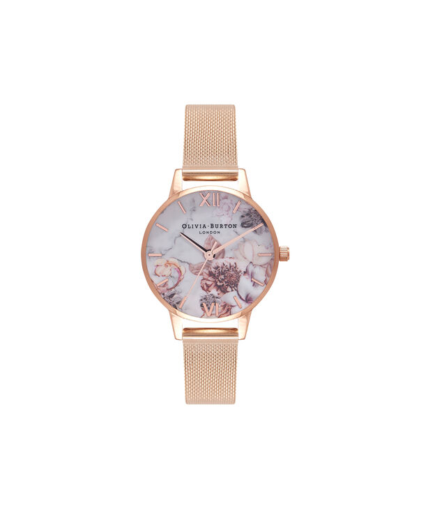 OLIVIA BURTON LONDON  Marble Floral Rose Gold Mesh Watch OB16CS06 – Midi Dial in White and Rose Gold - Front view