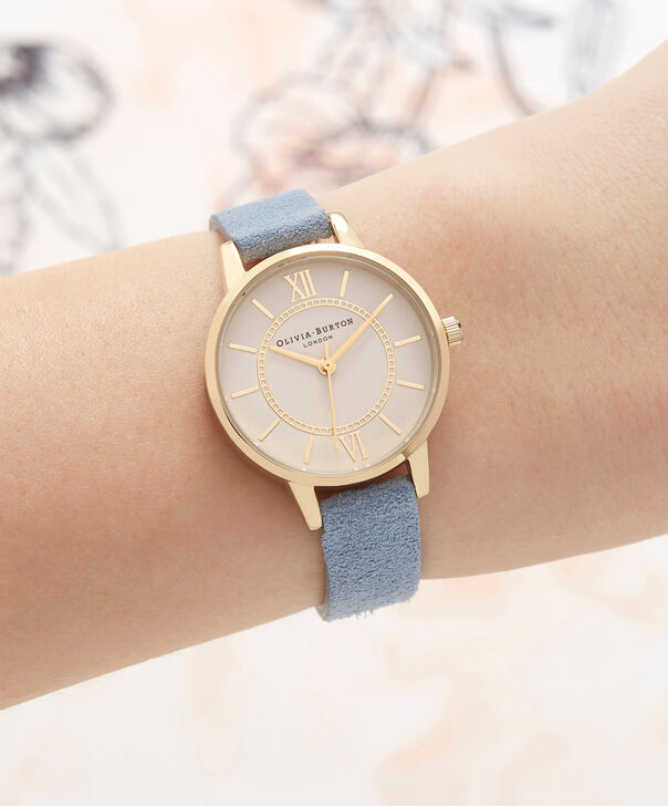 OLIVIA BURTON LONDON  Wonderland Chalk Blue Suede, Nude Dial & Gold OB16WD82 – Midi Dial Round in Gold and Chalk Blue - Other view