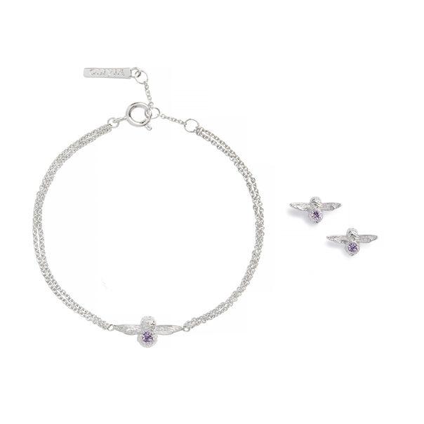 OLIVIA BURTON LONDON Bejewelled Bee Bracelet and Earrings Gift Set Sterling Silver & AmethystOBJGSET01 – Gift Set in Silver - Side view