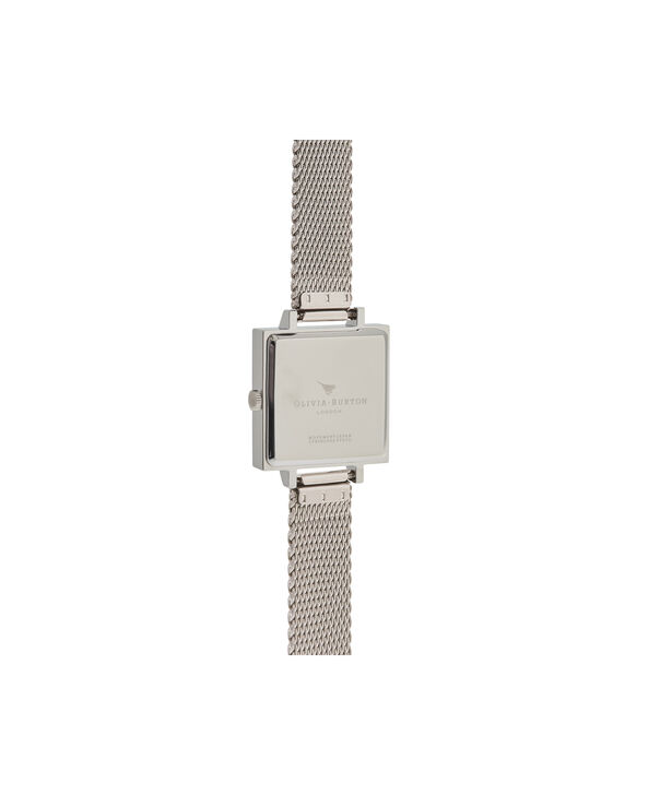 OLIVIA BURTON LONDON  Midi Square Dial Silver Mesh Watch OB16SS06 – Big Dial Square in White and Silver - Back view