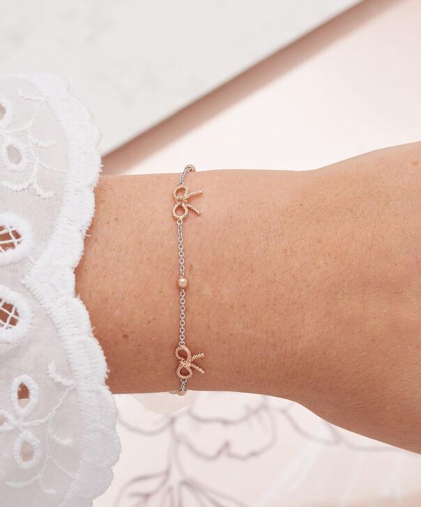 OLIVIA BURTON LONDON  Bow and Ball Bracelet Silver & Rose Gold OBJ16VBB11 – Vintage Bow Chain Bracelet - Other view