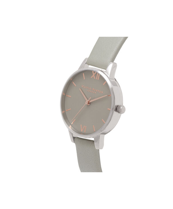 OLIVIA BURTON LONDON Midi Grey Dial Grey Watch, Rose Gold & SilverOB16MD79 – Midi Dial Round in Grey - Side view