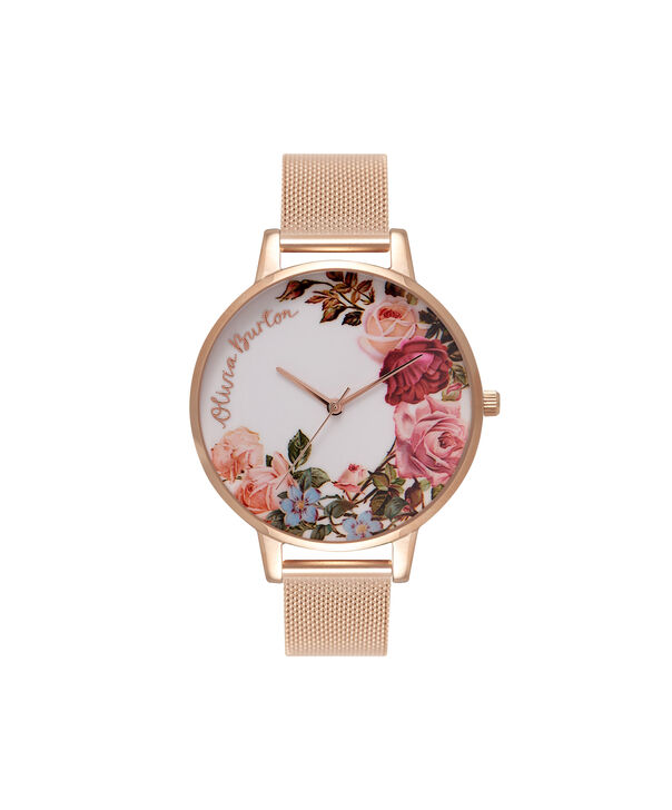 OLIVIA BURTON LONDON  English Garden Rose Gold Mesh Watch OB16ER10 – Big Dial in White and Rose Gold - Front view