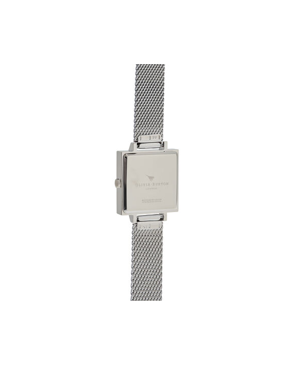 OLIVIA BURTON LONDON  Square Dial 3D Bee Stainless Steel Mesh Watch OB16AM136 – Midi Square Silver - Back view