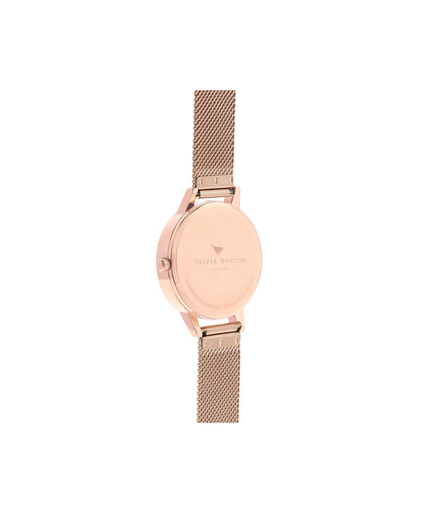 OLIVIA BURTON LONDON Lace Detail Black Dial & Rose Gold Mesh Watch OB16MV57 – Midi Dial in Black and Rose Gold - Back view