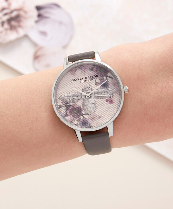 OLIVIA BURTON LONDON  Embroidered Dial 3D Bee London Grey and Silver Watch OB16EM05 – Midi Dial Round in Floral and London Grey - Other view