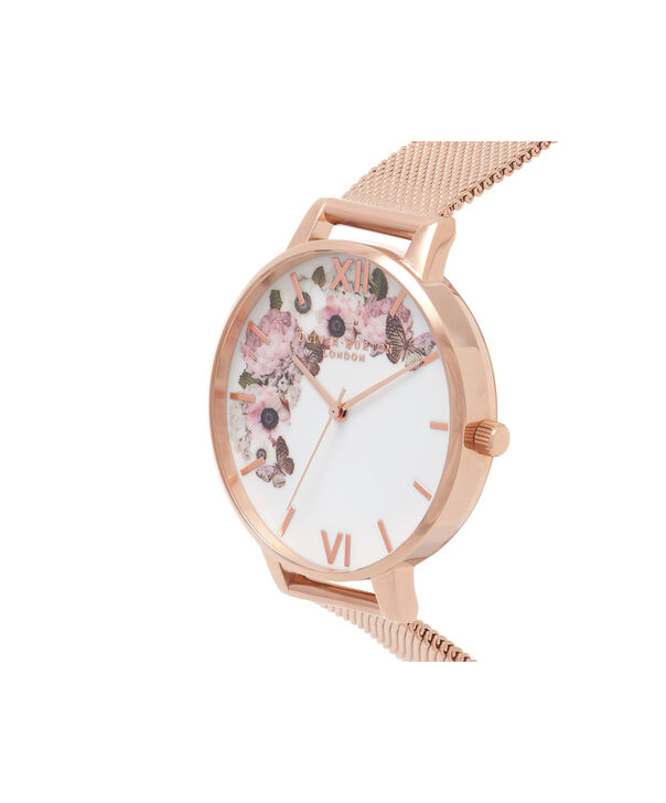 OLIVIA BURTON LONDON  Signature Floral Rose Gold Mesh Watch OB16WG18 – Big Dial in White and Rose Gold - Side view