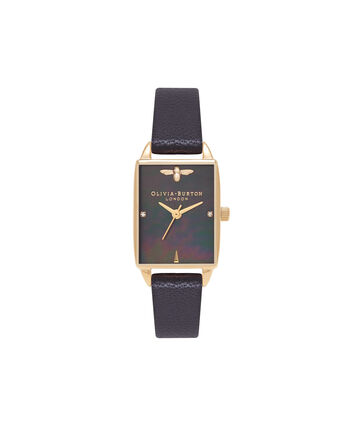 OLIVIA BURTON LONDON  Bee Hive Black Mother of Pearl, Black & Gold OB16BH02 – Midi Dial Rectangle in Gold and Black - Front view