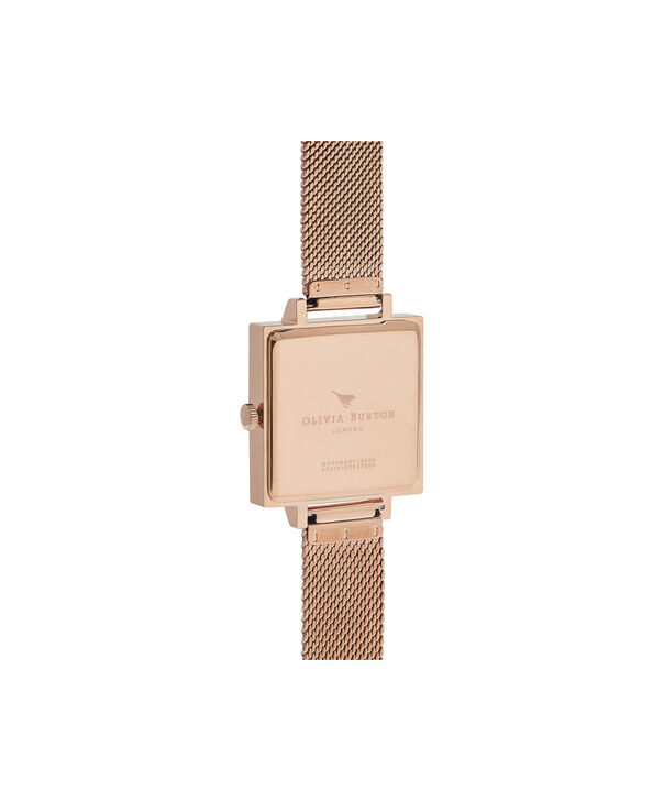 OLIVIA BURTON LONDON  Vintage Bow Grey & Rose Gold Mesh OB16VB10 – Midi Dial Round in Rose Gold - Back view