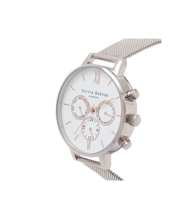 OLIVIA BURTON LONDON  Chrono Detail Rose Gold & Silver Mesh Watch OB16CG87 – Big Dial Round in White and Silver - Side view
