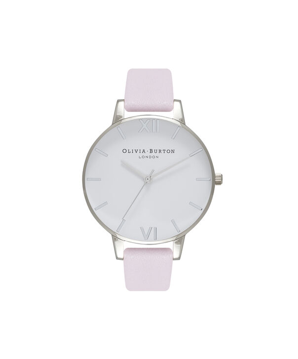 OLIVIA BURTON LONDON  White Dial Silver and Blossom Watch OB16BDW34 – Big Dial Round in White and Silver - Front view