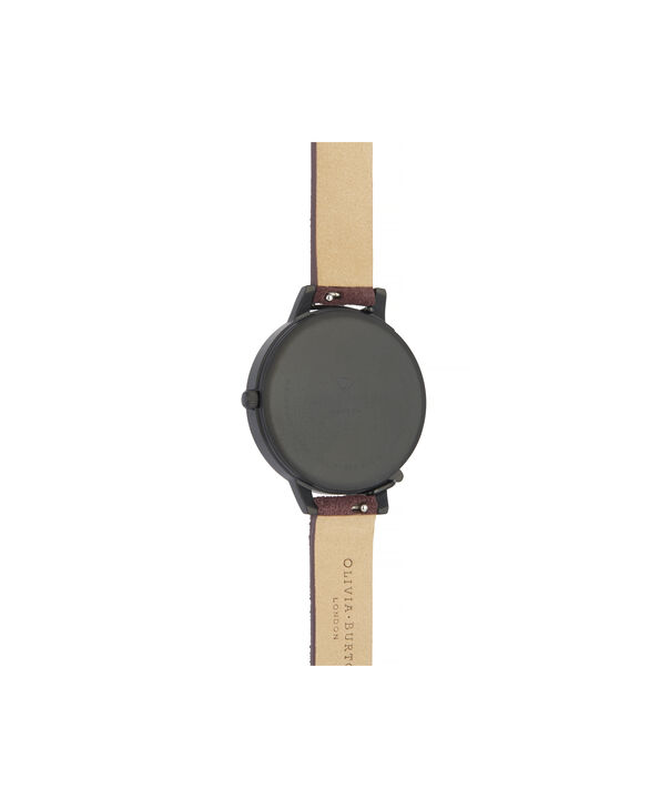OLIVIA BURTON LONDON After Dark Case Cuff Demi Dial Watch with Wine SuedeOB16AD44 – Demi Dial in pink and Black & Rose Gold - Back view