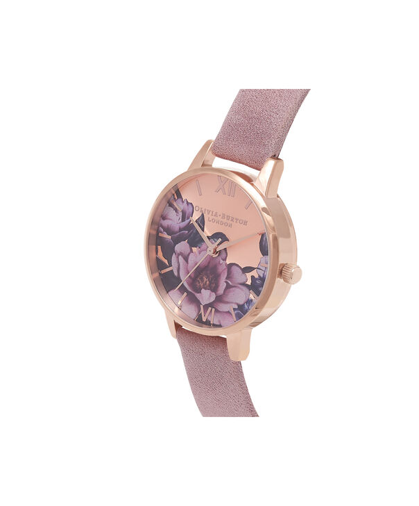 OLIVIA BURTON LONDON Peony Parlour Sunray Midi Dial Watch with Rose SuedeOB16PL42 – Midi Dial in pink and Rose Gold - Side view