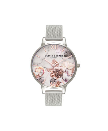 OLIVIA BURTON LONDON  Marble Floral Rose Gold & Silver Mesh Watch OB16CS10 – Big Dial in White Floral and Silver - Front view