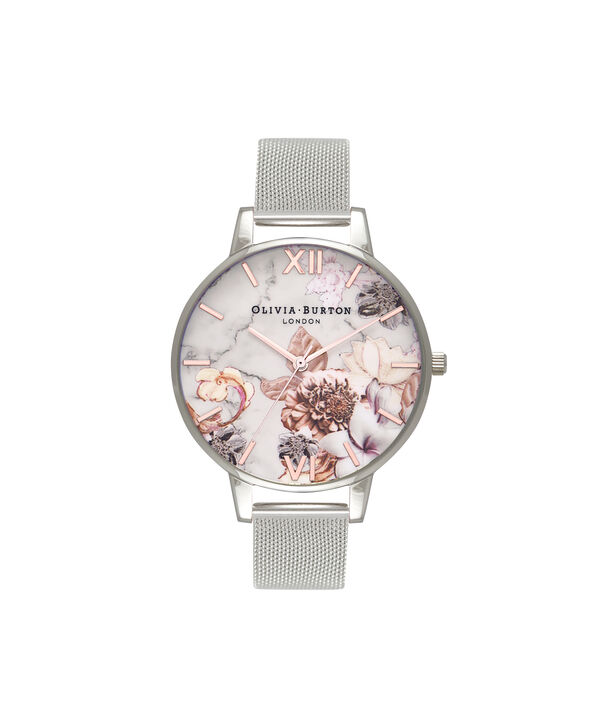 OLIVIA BURTON LONDON Marble Floral Rose Gold   Silver Mesh Watch OB16CS10 –  Big Dial in ... b1a8a807c2
