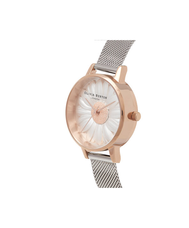 OLIVIA BURTON LONDON  3D Daisy Rose Gold & Silver Mesh Watch OB16FS94 – Midi Dial Round in White and Silver - Side view