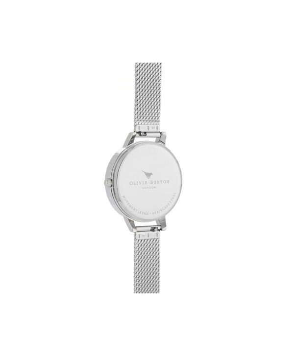 OLIVIA BURTON LONDON Celestial Demi Dial Watch with Boucle MeshOB16GD14 – Demi Dial in silver and Silver & Rose Gold - Back view