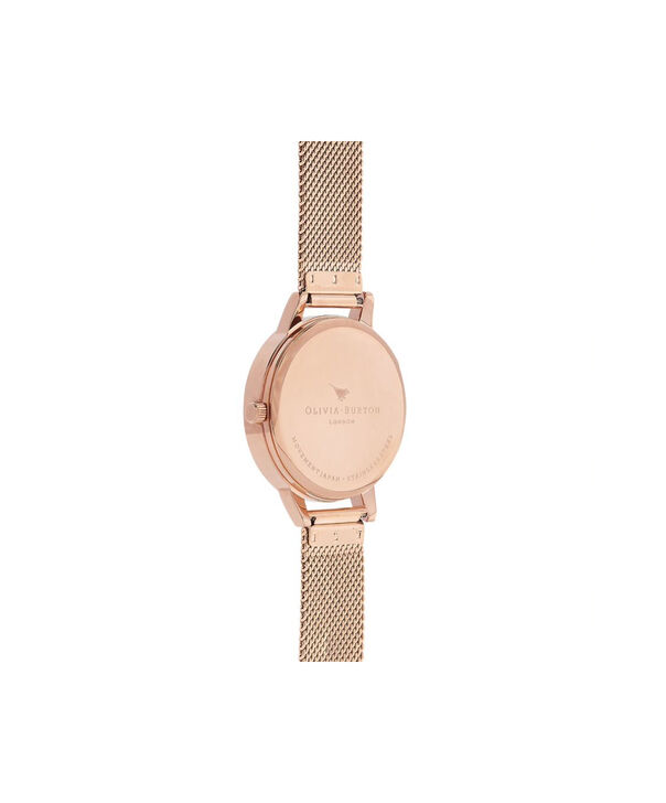OLIVIA BURTON LONDON Painterly Prints Rose Gold MeshOB16PP49 – Midi Dial Round in Rose Gold - Back view