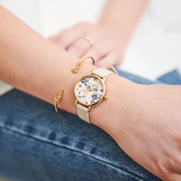 OLIVIA BURTON LONDON Bejewelled Florals Vegan Nude & GoldOB16BF14 – Midi Dial Round in Gold and Nude - Other view