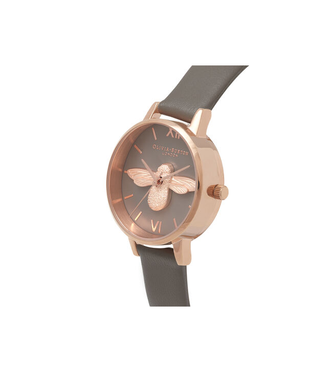 OLIVIA BURTON LONDON  3D Bee London Grey & Rose Gold OB16AM148 – Midi Dial Round in Grey and Rose Gold - Side view