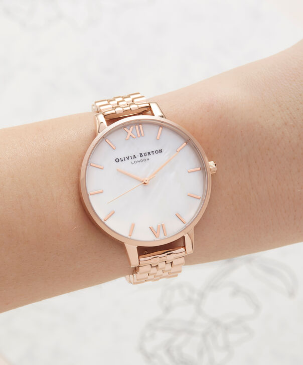 OLIVIA BURTON LONDON  Mother of Pearl White Bracelet, Rose Gold OB16MOP03 – Big Dial Round in Rose Gold and Rose Gold - Other view