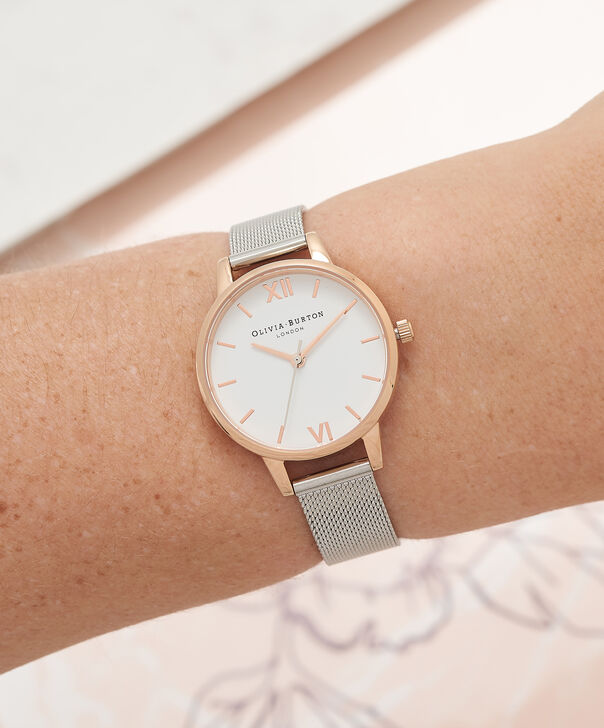 OLIVIA BURTON LONDON  White Dial Rose Gold & Silver Mesh Watch OB16MDW02 – Midi Dial Round in White and Silver - Other view