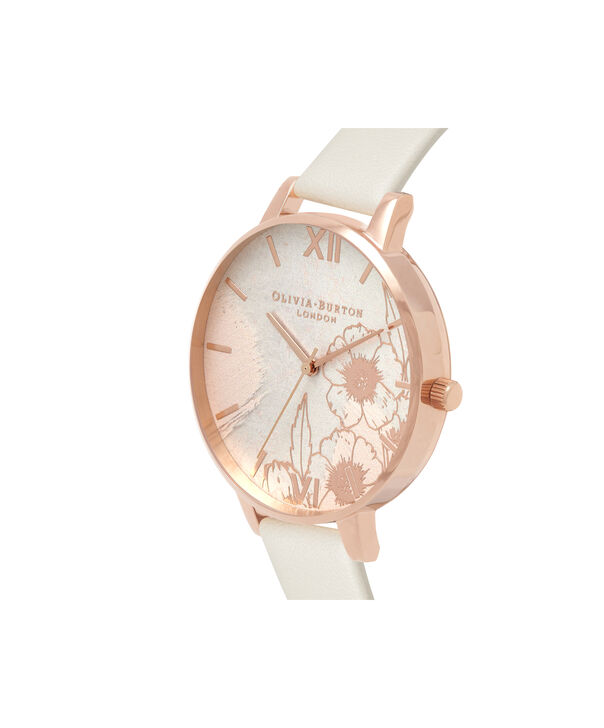 OLIVIA BURTON LONDON  Abstract Florals Vegan Nude & Rose Gold OB16VM25 – Big Dial Round in Nude and Rose Gold - Side view