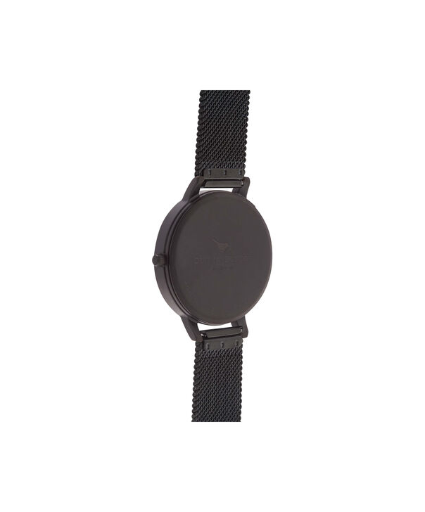 OLIVIA BURTON LONDON  After Dark IP Black Mesh Watch OB15BD83 – Big Dial Round in Black - Back view