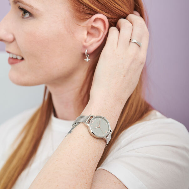 OLIVIA BURTON LONDON Grey Dial Mesh, Rose Gold & SilverOB16MD95 – Midi Dial Round in Rose Gold and Silver - Other view