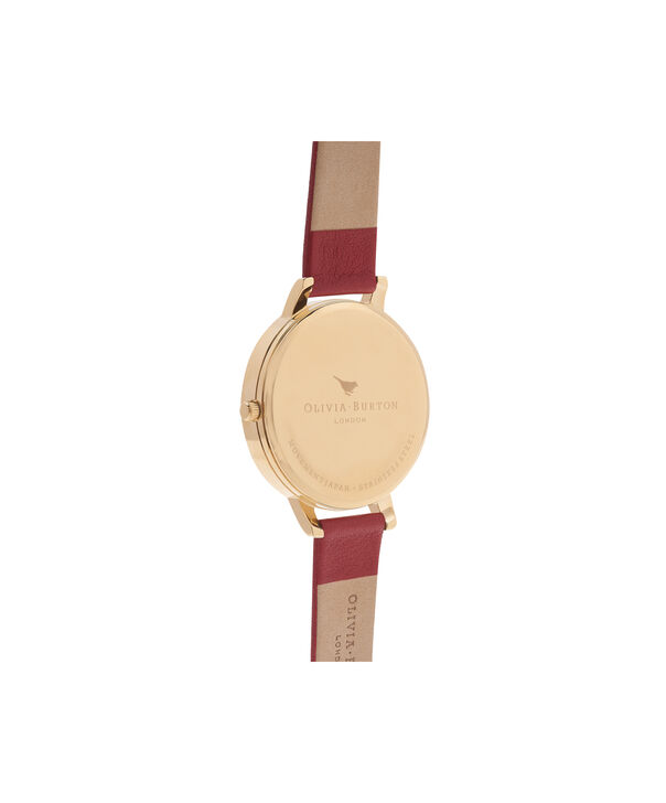 OLIVIA BURTON LONDON  Big Dial Red & Gold Watch OB15BDW01 – Big Dial Round in White and Red - Back view