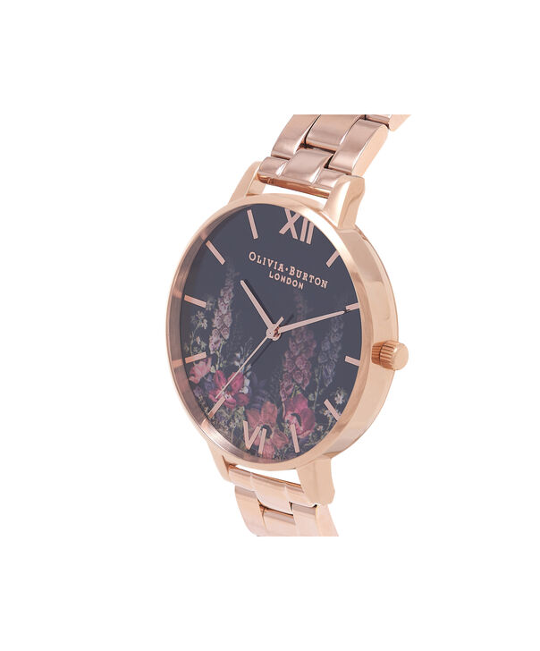 OLIVIA BURTON LONDON  Dark Bouquet Rose Gold Bracelet Watch OB16WG45 – Big Dial Round in Dark Floral and Rose Gold - Side view